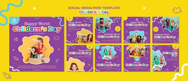 Modelo de postagem em mídia social para o dia das crianças