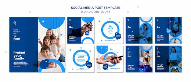 Modelo de postagem em mídia social para o dia mundial da diabetes