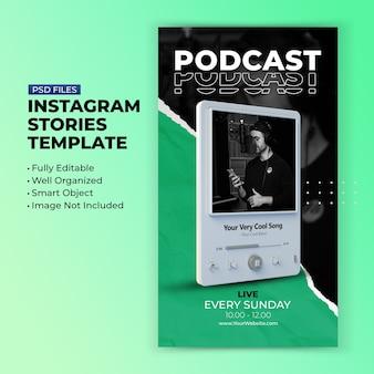 Modelo de postagem em mídia social para podcast de transmissão ao vivo no instagram