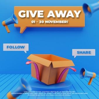 Modelo de postagem em mídia social para pódio 3d e caixa de distribuição de concurso
