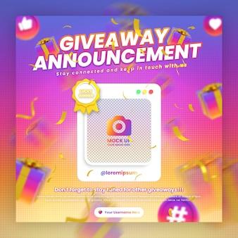Modelo de postagem em mídia social para promoção de concurso de sorteio no instagram com maquete