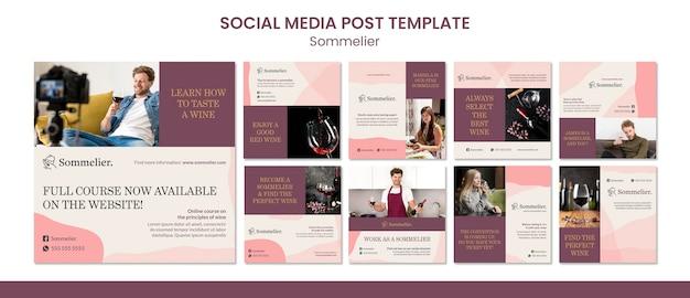 Modelo de postagem em mídia social para sommelier