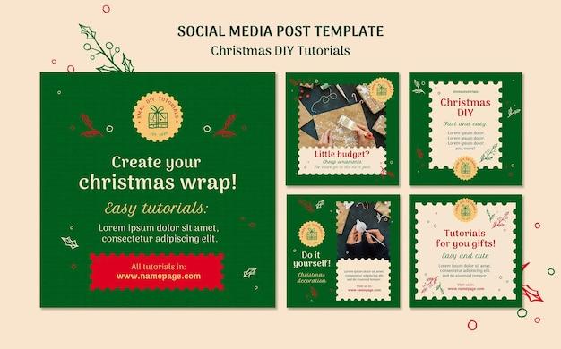 Modelo de postagem em mídia social para tutorial de natal