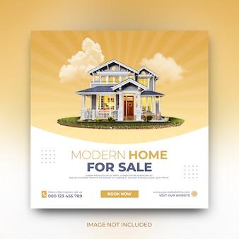 Modelo de postagem em mídia social para venda em casa moderna, promoção de marketing