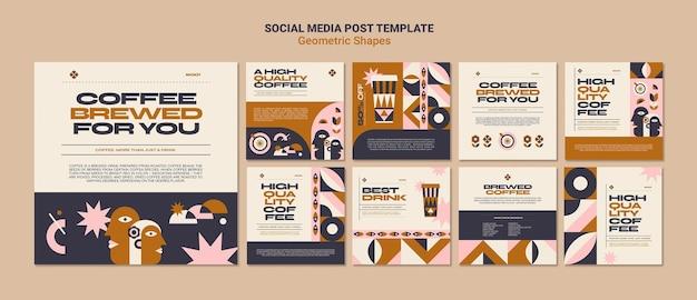 Modelo de postagem em mídias sociais de formas geométricas