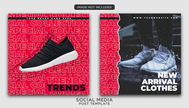 Modelo de postagem em redes sociais de roupas e moda