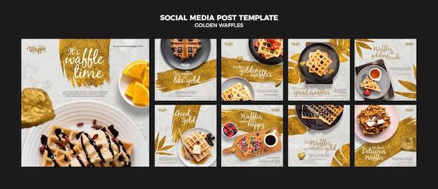 Modelo de postagem em redes sociais de waffles dourados Psd Premium