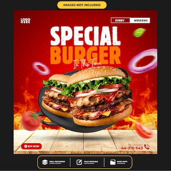 Modelo de postagem especial de mídia social do delicious burger