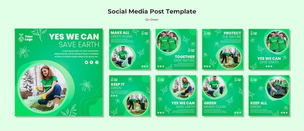 Modelo de postagem - mídia social ambiental