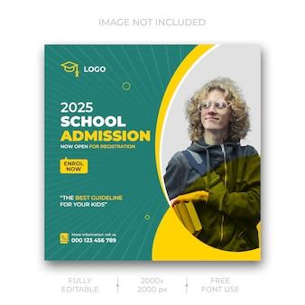 Modelo de postagem - mídia social de admissão na escola