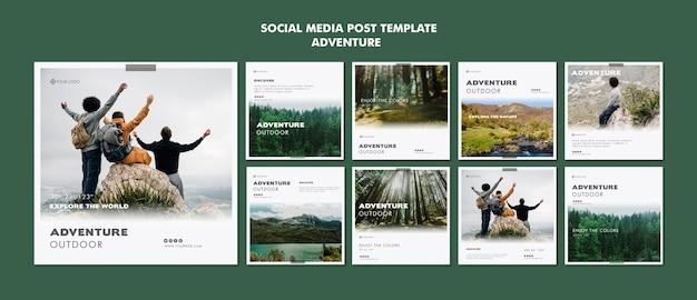 Modelo de postagem - mídia social de aventura