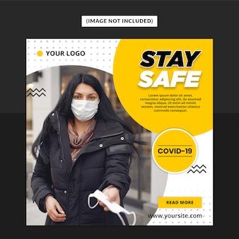 Modelo de postagem - mídia social de aviso de vírus corona