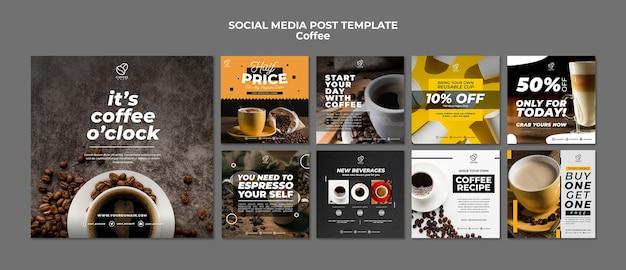 Modelo de postagem - mídia social de café