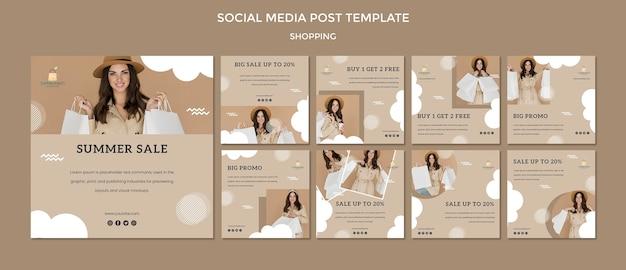 Modelo de postagem - mídia social de compras