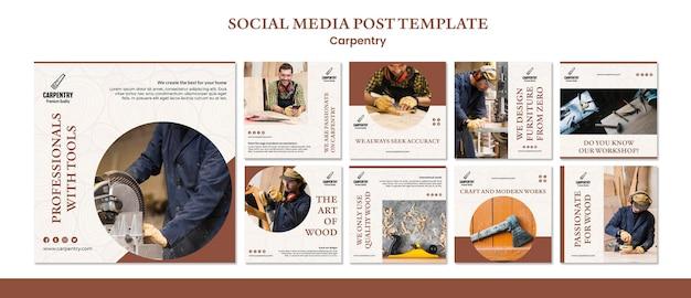 Modelo de postagem - mídia social de conceito de carpintaria