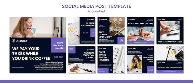 Modelo de postagem - mídia social de conceito de contador