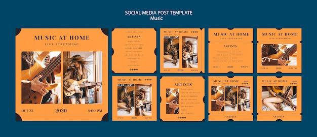 Modelo de postagem - mídia social de conceito de música
