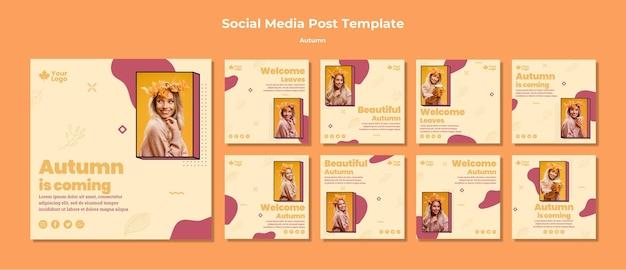 Modelo de postagem - mídia social de conceito outono