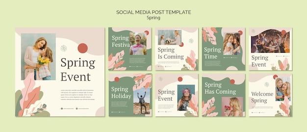 Modelo de postagem - mídia social de evento de primavera
