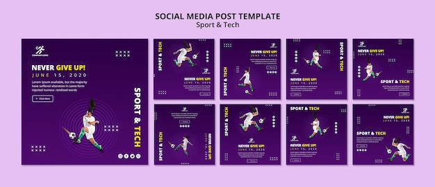 Modelo de postagem - mídia social de garota de futebol