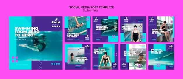 Modelo de postagem - mídia social de natação Psd grátis