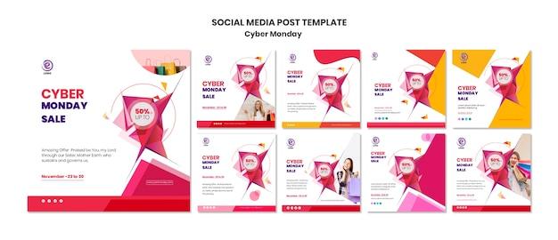 Modelo de postagem - mídia social de segunda-feira cibernética