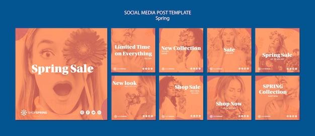 Modelo de postagem - mídia social de venda de primavera