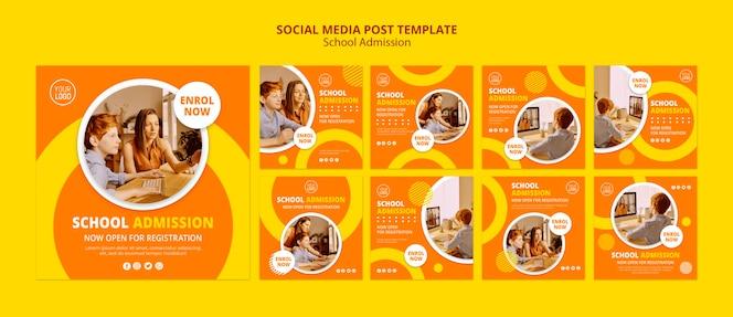 Modelo de postagem - mídia social do conceito de admissão escolar