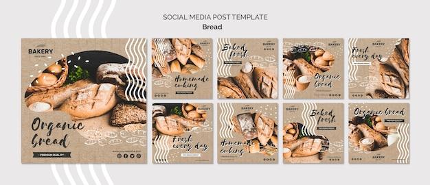 Modelo de postagem - mídia social do conceito de pão
