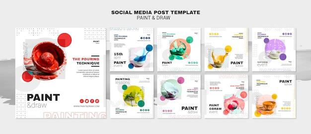 Modelo de postagem - mídia social do conceito de pintura