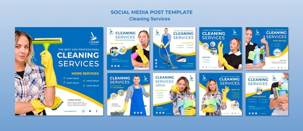Modelo de postagem - mídia social do conceito de serviço de limpeza
