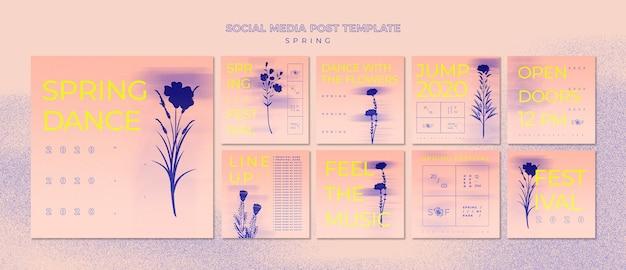 Modelo de postagem - mídia social do festival de música da primavera