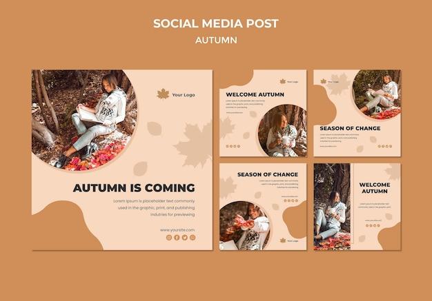 Modelo de postagem - mídia social outono