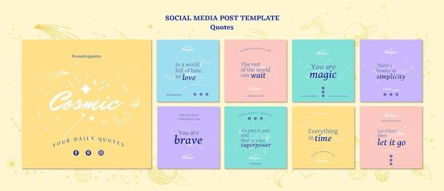 Modelo de postagem - mídias sociais do conceito de cotações