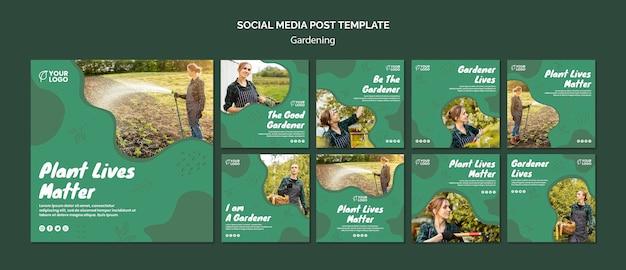 Modelo de postagem - mídias sociais do conceito de jardinagem