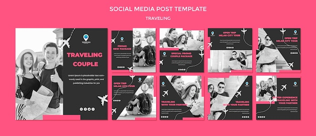 Modelo de postagem - mídias sociais do conceito de viagem