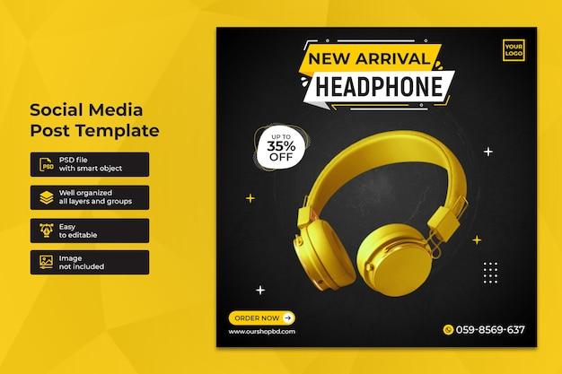 Modelo de postagem mínima exclusiva para venda de fones de ouvido nas redes sociais