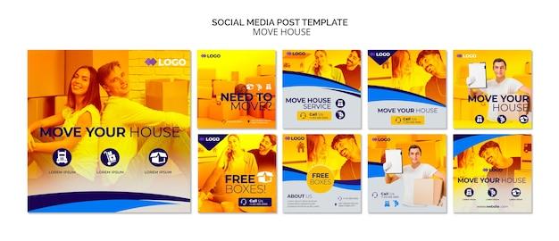 Modelo de postagem - mover casa negócios mídias sociais