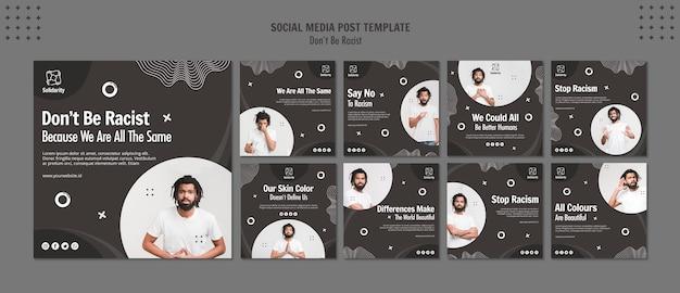 Modelo de postagem - não seja racista em mídias sociais
