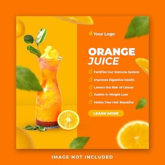 Modelo de postagem nas redes sociais do menu de bebidas com suco de laranja