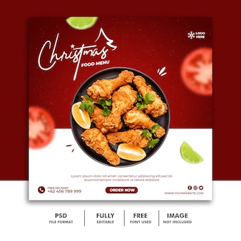 Modelo de postagem nas redes sociais do natal do menu de comida do restaurante