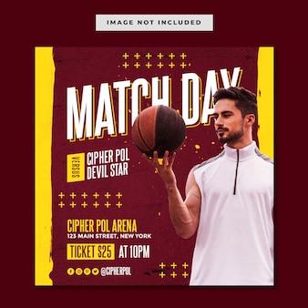 Modelo de postagem no instagram de evento esportivo de basquete