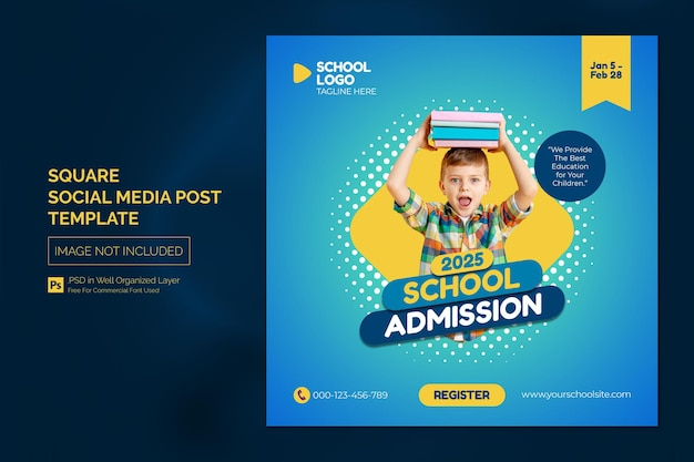 Modelo de postagem no instagram de mídia social square ou banner da web com conceito de design de título