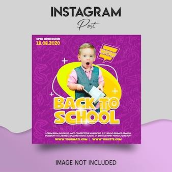 Modelo de postagem no instagram de volta à escola