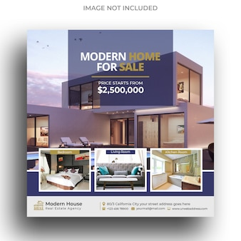 Modelo de postagem no instagram moderno imobiliário ou modelo de folheto quadrado