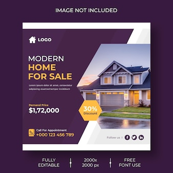 Modelo de postagem no instagram ou mídia social imobiliária