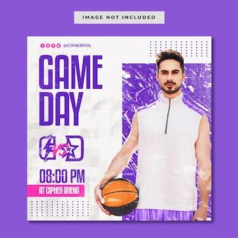 Modelo de postagem no instagram para eventos de basquete em mídias sociais