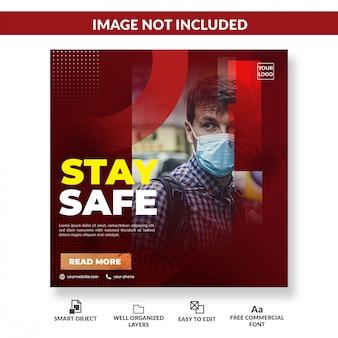 Modelo de postagem quadrado de mídia social de aviso de vírus