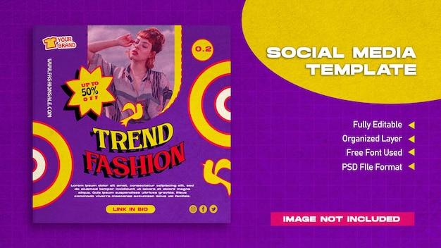Modelo de postagem retrô de moda no instagram