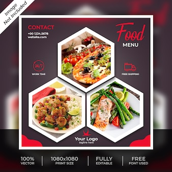 Modelo de postagem social de comida